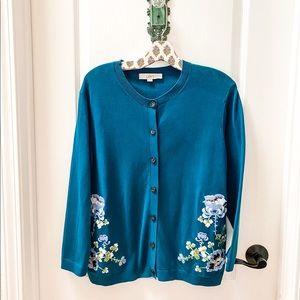 LOFT Teal Floral Embroidered Cardigan